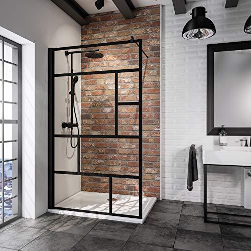 Schulte paroi de douche à l'italienne, Walk In, verre décor sérigraphié Atelier, profilé noir, 120x200 cm