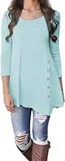 Womens Basic Shirt,KIKOY Long Sleeve Loose Button Trim Round Neck Tunic T-Shirt