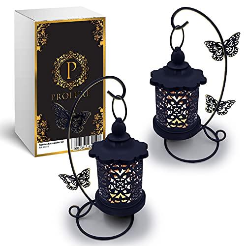 PROLUXE® Kerzenhalter Vogelkäfig Deko Schwarz 2tlg - Elegantes & Stilvolles Design - Premium Qualität Käfig Kerzenständer aus hochwertigem Metall - 2er Set Geschenkartikel Hochzeit Dekoration Vintage