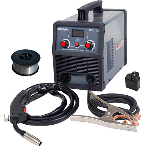 Amico MIG-130A, 130 Amp MIG/Flux Core Wire Welder, 115/230V Dual Voltage IGBT Inverter Welding Soldering Machine