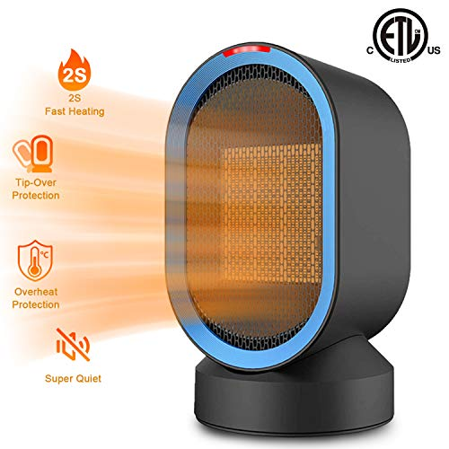 Sendowtek Personal Space Heater 2s Fast Heating Fan Quiet Electric Ceramic Heater for Indoor Office Desktop Use PTC Portable Small Space Heater with Overheat & Tip-Over Protection for Home Bedroom Heater Space