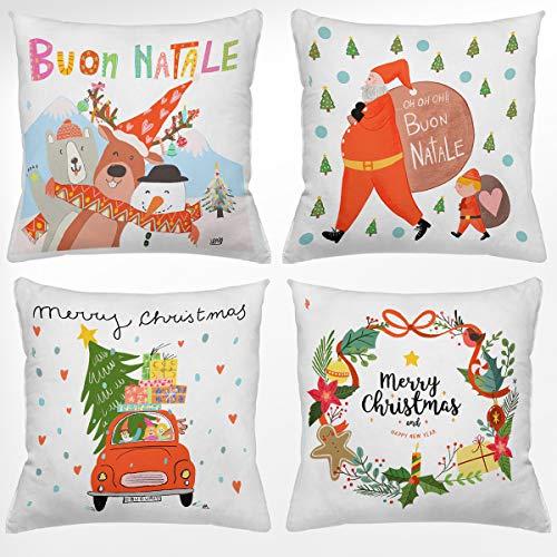 4 fundas de cojín para sofá de Navidad, 40 x 40 cm, funda navideña para cojín de sofá, ideal para cojines navideños...