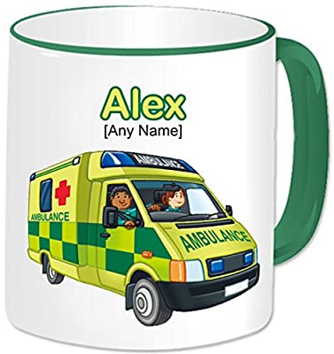 Personalised Paramedic Gift - Ambulance Mug (Any Name Any Message). UK British Emergency Services Paramedic Medical Hospital Staff Red Cross Van Vehicle Automobile Theme (Green Handle & Rim) by gadgetepoint