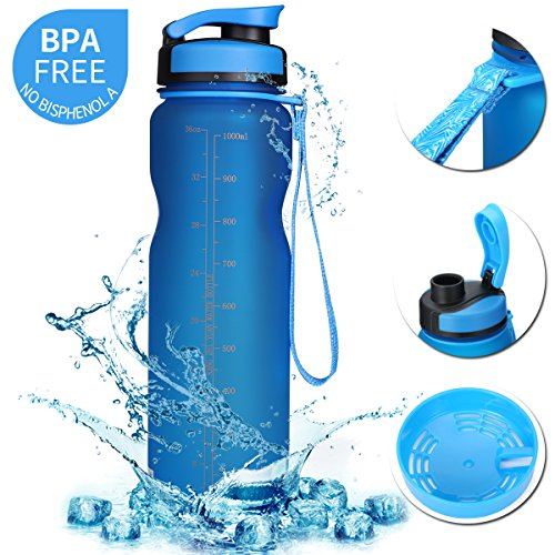 SOKLIT Sports Water Bottle with Filter & Strap, Portable BPA Free Drinking Cup 36oz/1000ml, Flip Top Leak Proof - 0.51lb Plastic Bottles for Gym Outdoor Hiking Camping (Blue)