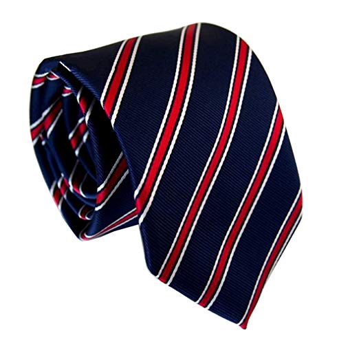 Men's Navy Blue Red White Preppy Tie Woven Casual Stylish Necktie Presents Ideal