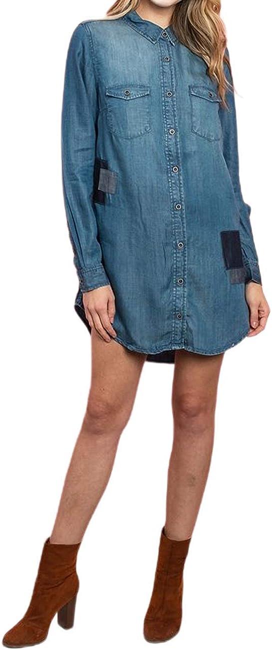 DABIRA Women's Long Sleeve Blouse Dress Denim Shirt Button Down