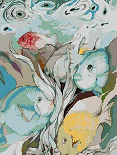 SZYUY Pintar por Numeros Niños Carpa Azul DIY Pintura,para Adultos Niños Seniors Junior con Pinceles Y Pinturas 40,6X50,8 Cm Sin Marco Decoración del Hogar