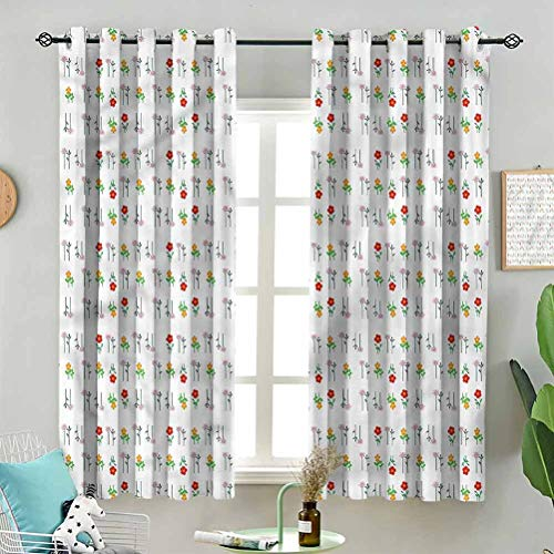 Modern Window Curtain Blossoming Daisy Field W72 x L63 Inch (2 Panels) Indoor for Living Room
