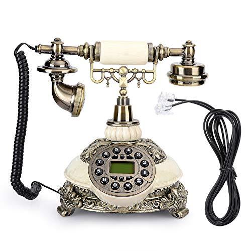 Weikeya Re-marcar Teléfono, Teléfono Línea Poder Fuente Expansible Sin Cable Teléfono con Resina por Hogar Hotel Oficina