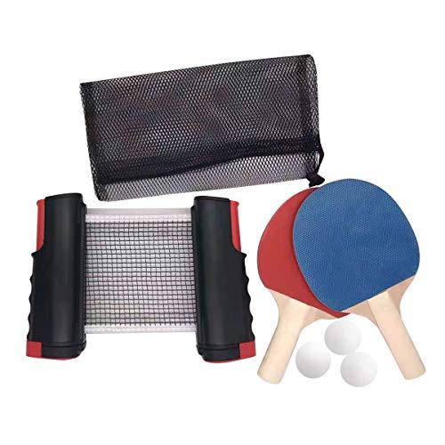 BnaFortna Red De Tenis De Mesa Portátil,Set de Ping Pong,Juego de Red de Tenis de Mesa,Conjunto de Pingpong Set Portátil, 2 Raquetas de Tenis de Mesa, 3 Pelotas de Ping Pong,Retráctil Mesa Ping Pong