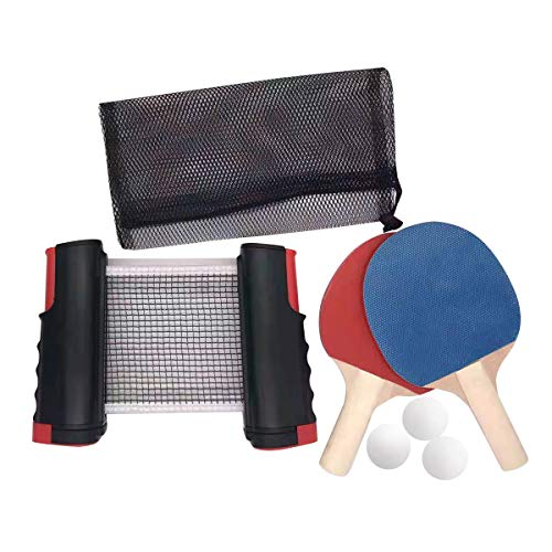 Ping Pong Set,Set da Ping Pong Portatile con Rete Regolabile,Reti da Ping-Pong a Scomparsa Portatili Regolabili su Qualsiasi Supporto da Viaggio da Tavolo Accessori per Sport all'aperto al Coperto
