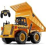Top Race TR-112 AA 5 Canales Totalmente Funcional RC Dump, Juguetes de Control Remoto, Camiones de construcción Resistentes con Luces de Sonido para niños, Adultos y niñosTR-112AA
