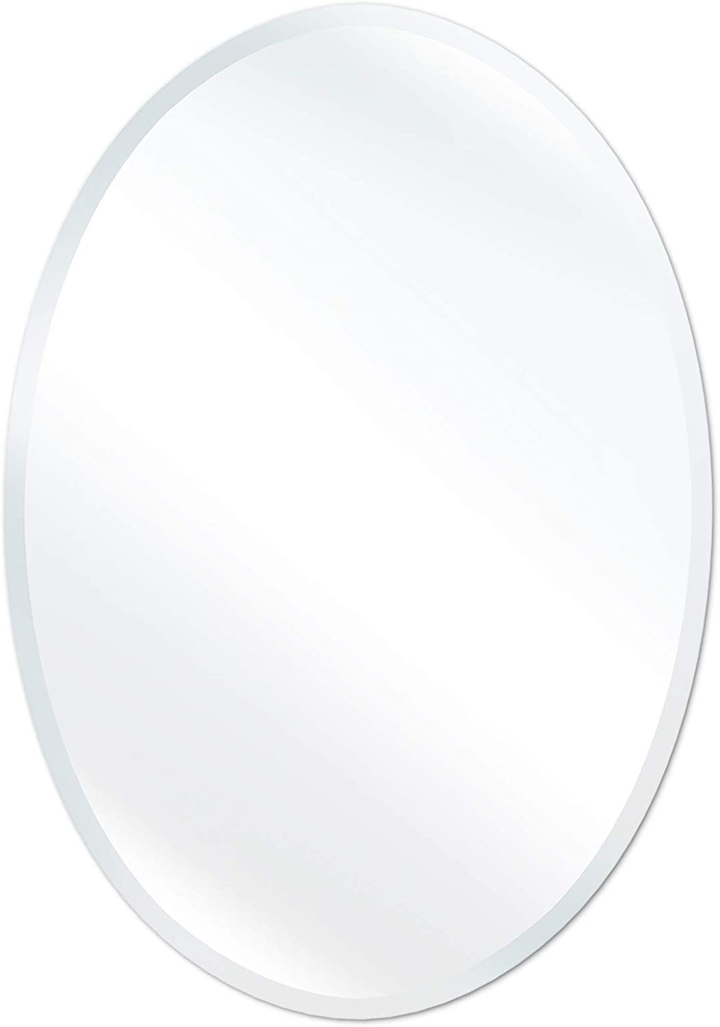 """SHINESTAR 20 x 28"""" Oval Mirror with Beveled Edge, Modern Frameless Bathroom Mirror for Wall, Home Decor, Vertical Hanging"""