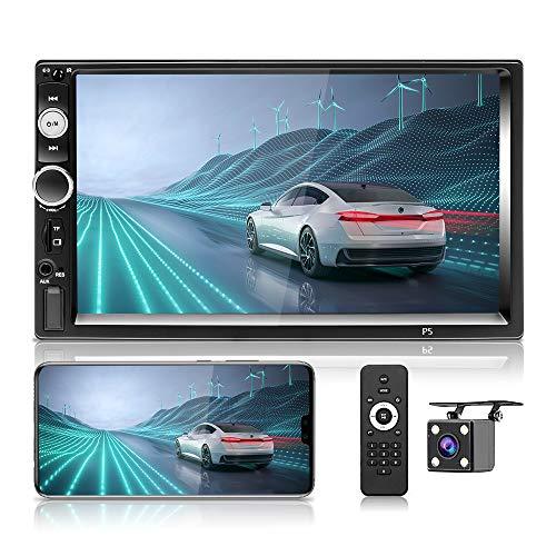Hikity Radio de Coche Bluetooth Autoradio 2 DIN con 7 Pulgadas Pantalla Tactil Car Stereo MP5 con FM/AUX/SWC/Mirror-Link/Cámara De Visión Trasera/Control del Volante
