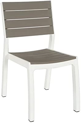 Keter Harmony–Garden Chair without Arms, White and Cappuccino