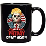 Make Friday Great Again Donald Trump Jason Halloween Horror President Gift for Women Men Black Ceramic Coffee Tea Mug Cup 11oz