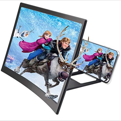 zuoshini Smartphone-Bildschirmverstärker 3D Gebogene Bildschirmlupe für Telefone Ständer Vergrößerungsglas Tragbarer Home Cinema-Handyverstärker für alle Smartphones