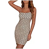 fine_fine Casual Dress for Women Summer Sexy Mini Printing Sleeveless Splicing Metal Chain Sling Sling Vest
