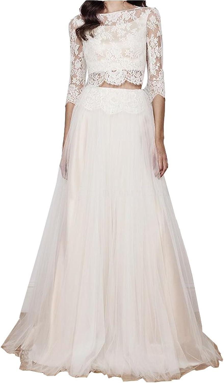 Irenwedding Women's Jewel Applique Lace Long Sleeves Two Pieces Beach Wedding Dress