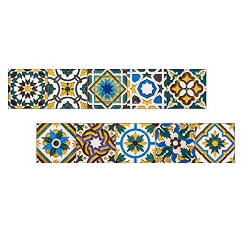 Angoily 10 Piezas de Adhesivos Decorativos para Azulejos de Baño Adhesivos para Azulejos de Estilo Marroquí Adhesivos para Pared de Mandala Autoadhesivos Resistentes Agua Azulejos para