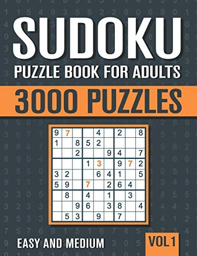 Sudoku Puzzle Book for Adults 3000 Easy to Medium Sudoku Puzzles with Solutions Vol 1 product image