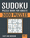 Sudoku Puzzle Book for Adults: 3000 Easy to Medium Sudoku Puzzles with Solutions - Vol. 1