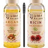 2x50 ml Huile d' Argan bio du Maroc et Huile de Ricin bio pure 100% naturelle pressée à froid nourrit purifie stimule et renforce la pousse des cheveux barbe cils sourcils & ongles riche en oméga 6/9
