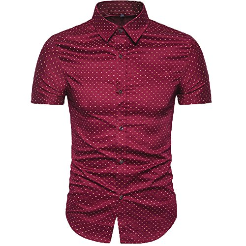 MUSE FATH Men's Printed Dress Shirt-Cotton Casual Short Sleeve Shirt-Interview Dress Shirt-Wine Red New-M