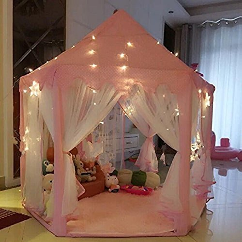 UniqueVC Princess Castle Play Tent With Light - 55'x 53'(DxH), Kids Playhouse for Childs Toddlers Gift/Presents,Balls and Blanket Not Included