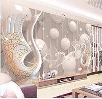 Bosakp カスタム3D写真の壁紙現代3Dアナグリフ白鳥ジュエリー花壁画テレビの背景リビングルーム寝室壁画3D壁紙ロール 100X50Cm