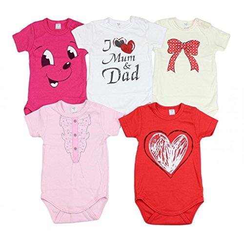 TupTam TupTam Unisex Baby Kurzarm Body mit Aufdruck Spruch 5er Pack, Farbe: Mädchen, Größe: 56