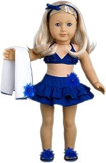 DreamWorld Collections - Bikini Mini - 4 Piece Bikini Outfit - Skirt, Bikini Top, Matching Flip Flops and Beach Blanket - Clothes Fits 18 Inch American Girl Doll (Doll Not Included)