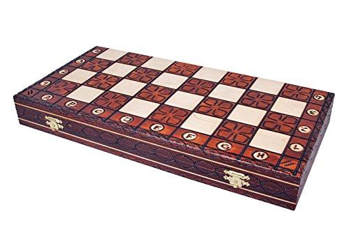 KADAX Schachspiel aus hochwertigem Holz, 42 x 42 cm, klappbar, Schach für Kinder, Erwachsene, Haus, Reise, tragbares Schachbrett mit Figuren, Schachkassette, elegant