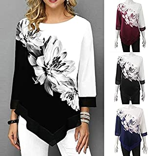 Extaum Fashion Women Floral Printed Blouse Plus Size 3/4 Sleeves Irregular Hemline O Neck Spring T-shirts Tees Casual Tops