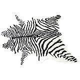 Alfombra grande de estampado de cebra, negro y blanco grande de cuerno largo alfombra para el hogar u oficina decoración de hotel 150x200cm