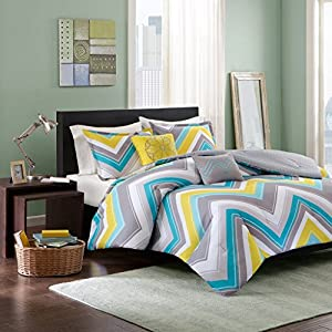 Yellow, White, Blue and Gray Chevron Bed Linen