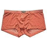AMOUSTORE Men's Erotic Mesh Boxer Thongs Underwear Men Sexy Underpants Low Raise G-Strings Transparent Boxers Lingerie Orange