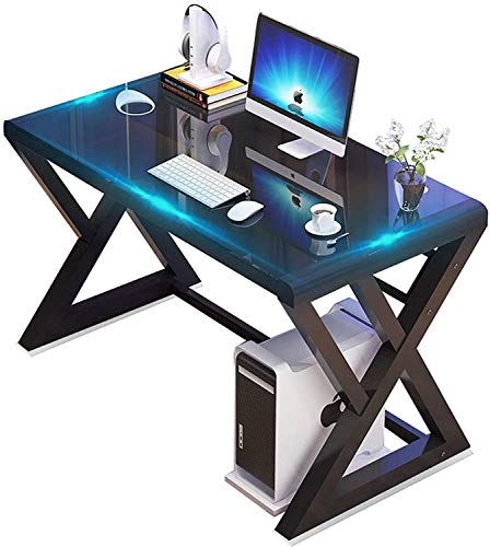 SAMERY Computer Desk, Modern Simple Office Desk Computer Table Study Gaming Writing Desk for Home Office, Glass Top/Metal Frame, Black (55.1, X-Shaped)