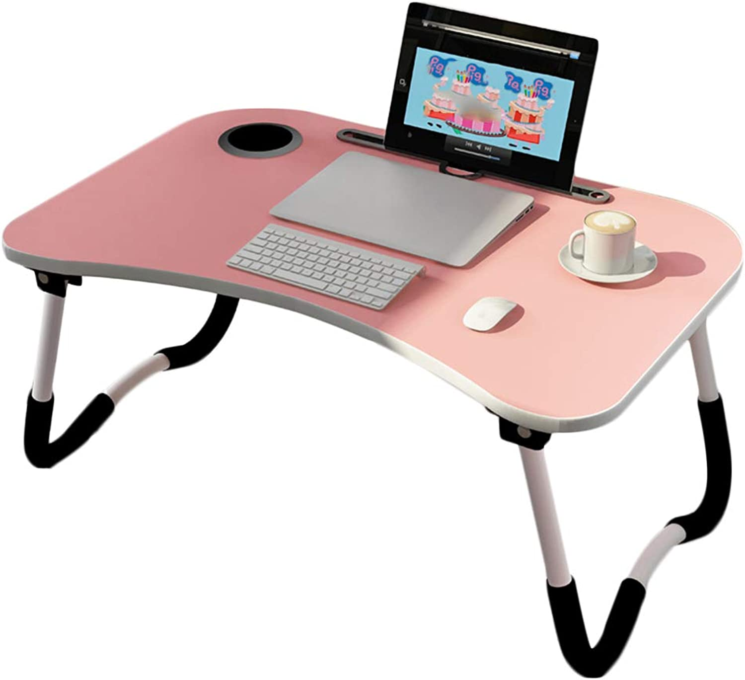 Zxwzzz Bed Desk Folding Table Dormitory Laptop Table Multi-Functional Bedroom Student Small Table Lazy Table (color   Pink)