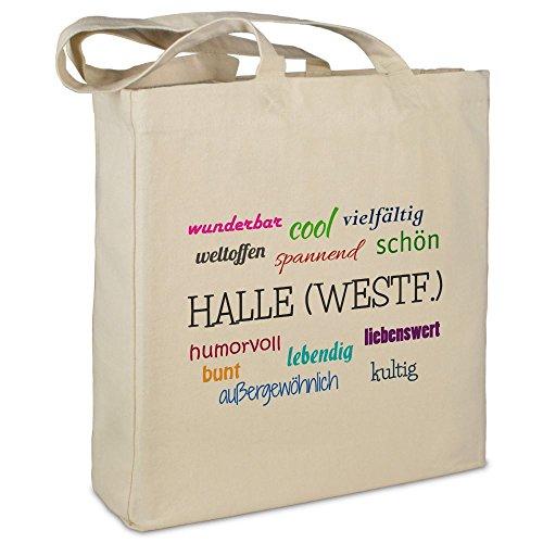 Stofftasche mit Stadt/Ort Halle (Westf.)  - Motiv Positive Eigenschaften - Farbe beige - Stoffbeutel, Jutebeutel, Einkaufstasche, Beutel