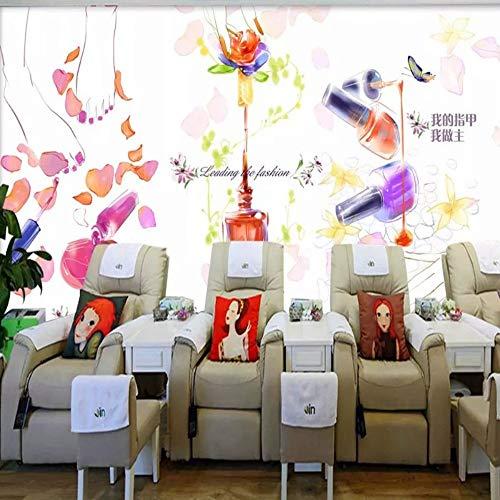Fotobehang grootte foto 3D persoonlijkheid mode cosmetica winkel manicure inkt graffitibehang schoonheidssalon kledingwinkel fotobehang muurschilderingen, 200 * 140