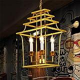 Lámparas de araña KDLD Araã±a Moderna Creativa Jaula de Pã¡Jaro de Color Dorado Creativo Colgante de Techo de Hierro Forjado 4 Luces para Sala de Estar, Bar, cafetería, Restaurante