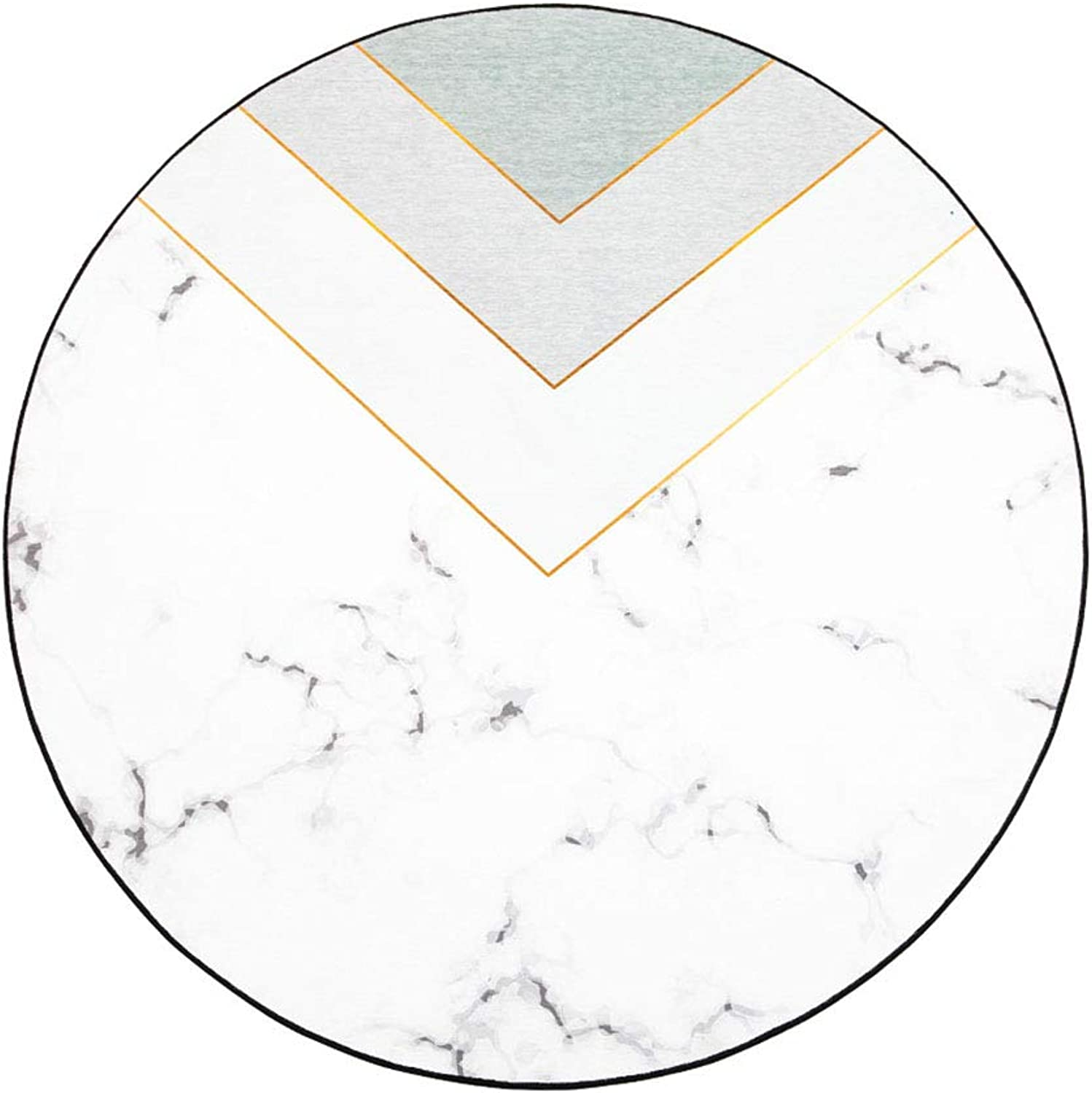 Handcrafted Carpets Round Carpet Living Room Coffee Table mat Marbled Home Swivel Chair mat (color   White, Size   120cm)