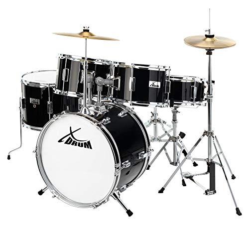 XDrum Junior Pro Kinder Schlagzeug Drumset (geeignet von 5-9 Jahren, mit viel Zubehör, Schule, DVD) schwarz