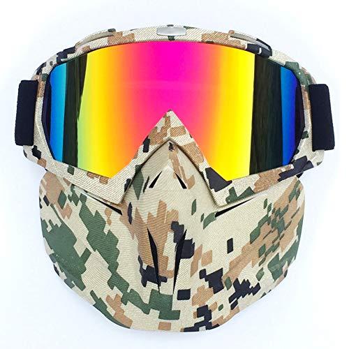 Gafas de Moto Vintage, Hombres Mujeres Gafas de Moto elásticas de Montura Completa máscara a Prueba de Viento antideslumbrante Gafas de esquí de Moto CS