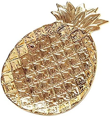 ZCRR - Piatto da frutta in ceramica placcato oro anananas placcato oro piatto di ceramica vassoio porta frutta gioielli ornamento cestino (colore: oro)