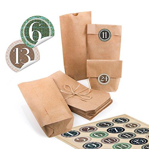24 kleine bruine papieren zakjes natuurlijk kraftpapier 10,7 x 22 x 4,2 cm + 1 tot 24 cijfers cijfers rond, vintage, natuurlijk sticker, adventskalender, kalender, knutselen, vullen minizakjes