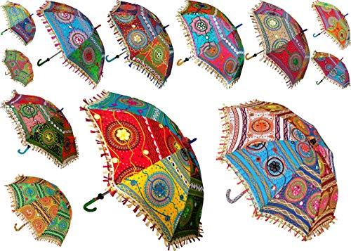 Worldoftextile 5 Stück Baumwolle Sonnenschirme Vintage Frauen Regenschirm Indische Handarbeit Desinger Hochzeit Regenschirm Deko #2