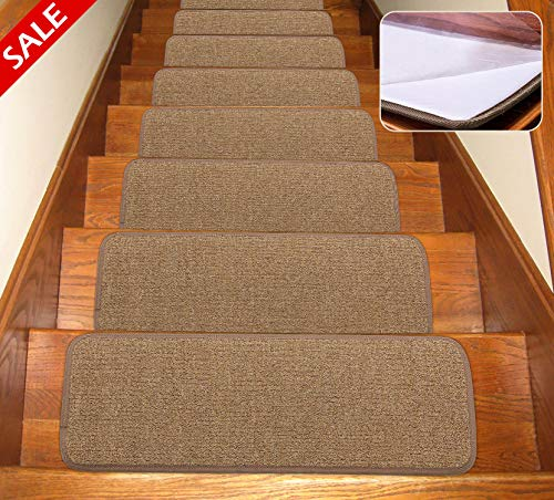 Seloom Stair Treads Carpet Non-Slip with Skid Resistant Rubber Backing Specialized for Indoor Wood Steps, Removable Washable Step Floor Rugs for Stair (25.5x9.5 Inch, 13 Pieces, Pure Brown)