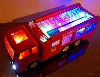 WolVolk Electric Fire Truck Toy with Stunning 3D Lights and Sirens goes Around and Changes Directions on Contact - Great Gift Toys for Kids